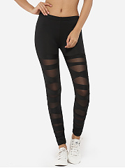 Cross-Straps-Dacron-Gauze-Patchwork-Plain-Leggings