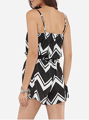 Loose Fitting Dacron Printed Zigzag Striped Rompers
