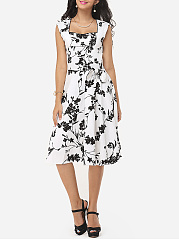 Floral Printed Bowknot Graceful Sweet Heart Skater-dress