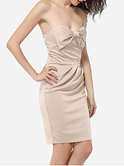 Bowknot Tube Dacron Plain Cocktail-dress