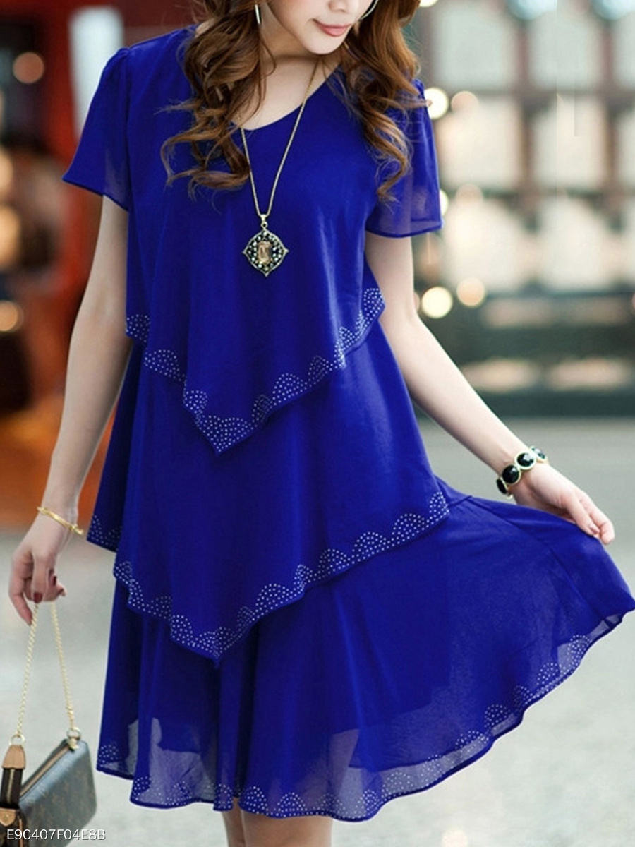 Summer V-Neck Solid Chiffon Layered Shift Dress
