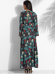 Round Neck Dacron Floral Hollow Out Printed Maxi-dress