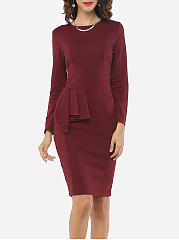 Plain Falbala Elegant Round Neck Bodycon Dress