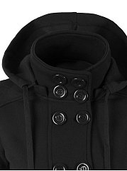 Double Breasted Slit Pocket Plain Hoodie