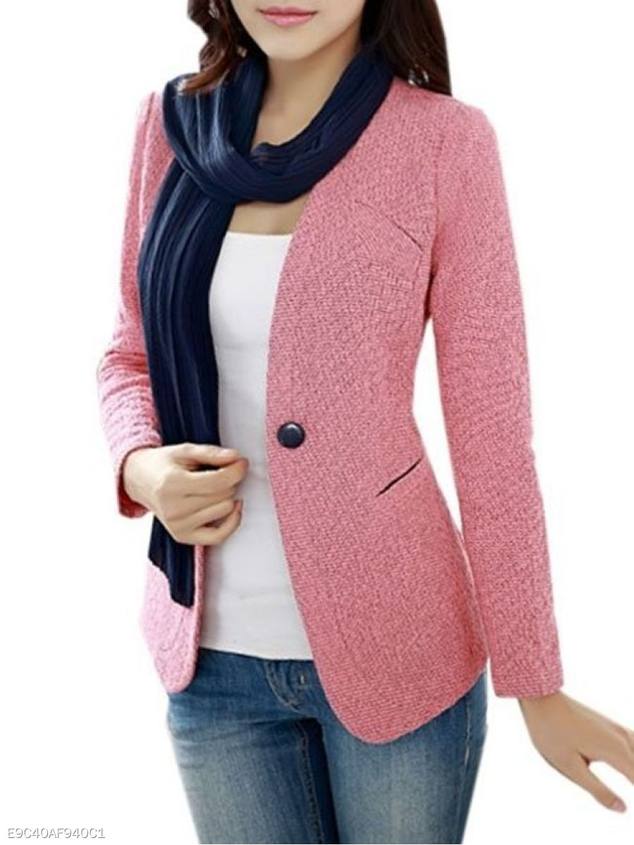 Plain Single Breasted Classical Collarless Blazer