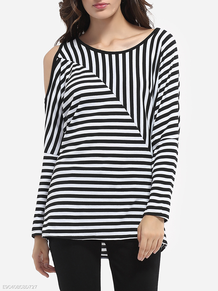 Batwing Loose Fitting Round Neck Dacron Striped Long-sleeve-t-shirt