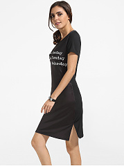 Round Neck Dacron Letter Printed Bodycon Dress