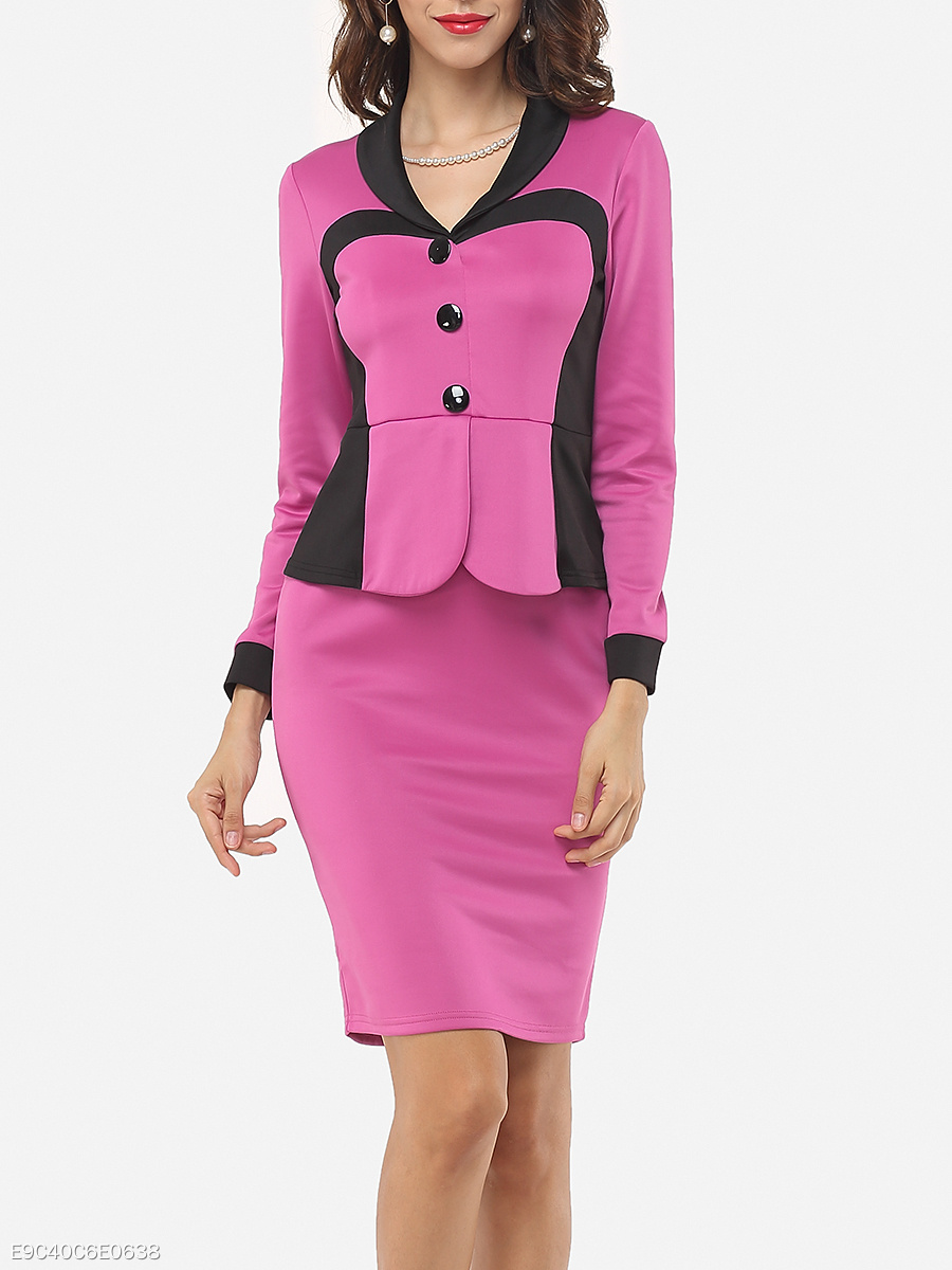 Shawl Collar Decorative Buttons Split Color Block Bodycon-dress