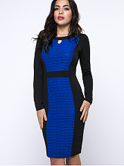 Round Neck Keyhole Color Block Unique Bodycon Dress