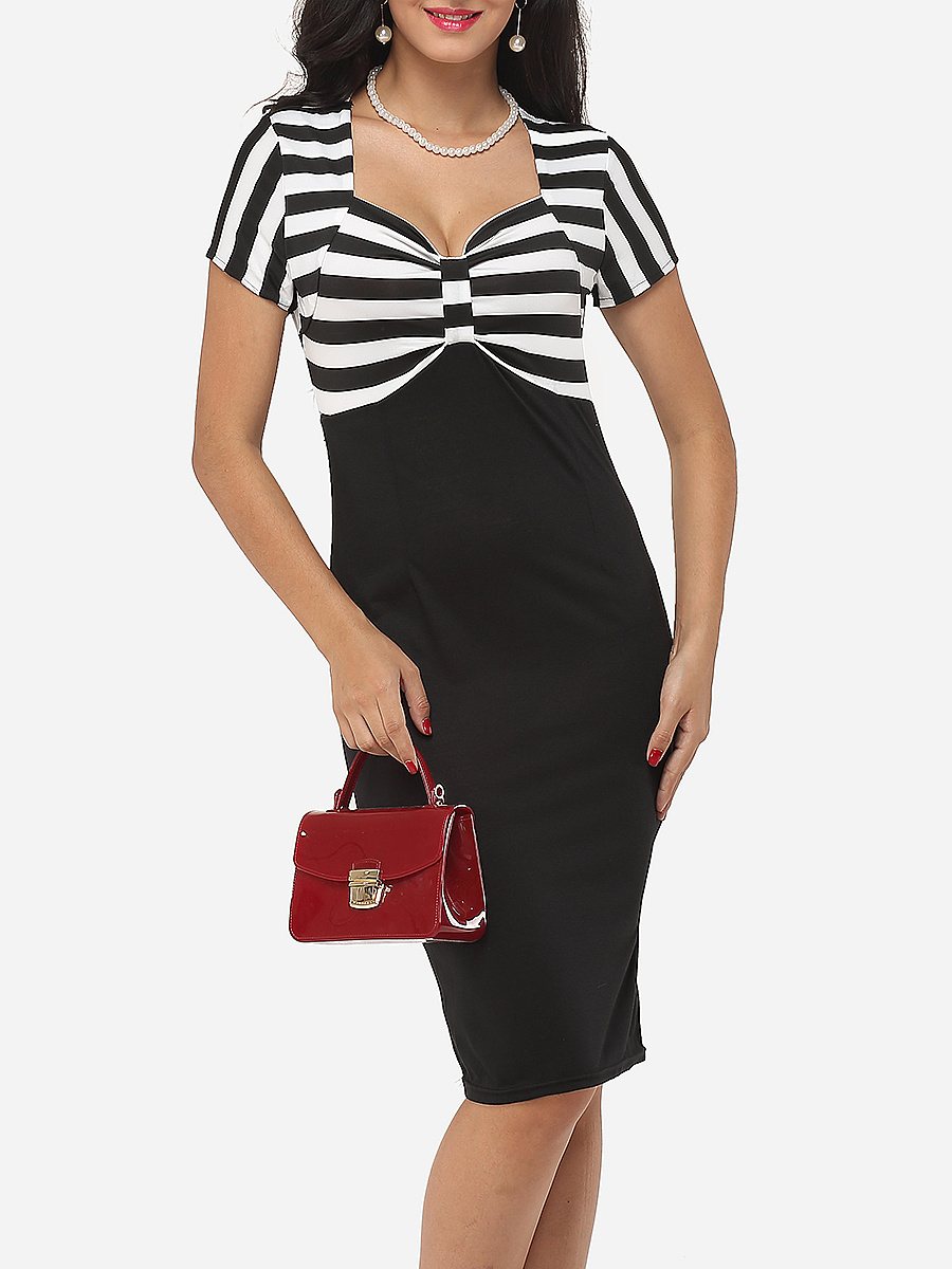 Patchwork Striped Sweet Heart Neck Bodycon-dress