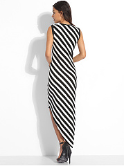 Asymmetrical Hems Round Neck Dacron Striped Bodycon-dress