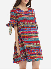Round Neck Linen Striped Tribal Shift-dress
