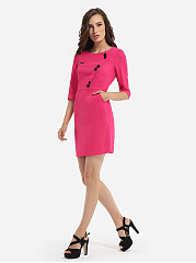 Pockets Decorative Buttons Round Neck Dacron Plain Bodycon-dress