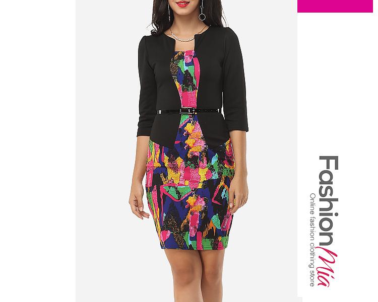 Image of Assorted Colors Designed Asymmetric Neckline Bodycon-dress
