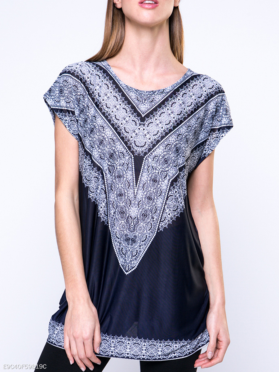 Summer  Polyester  Women  Round Neck  Tribal Printed  Short Sleeve Short Sleeve T-Shirts