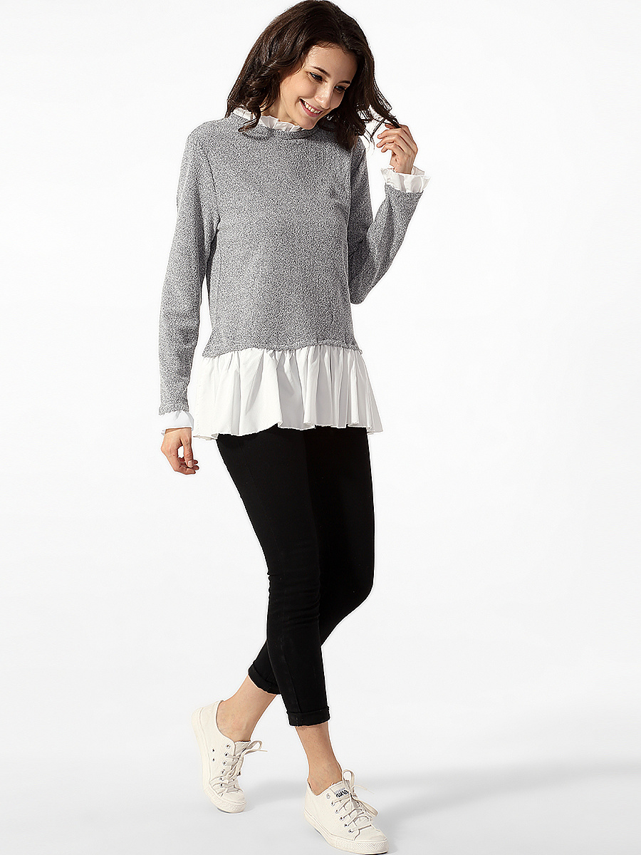 Crew Neck Ruffled Hem Patchwork Sweater