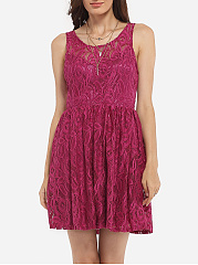 Cross Straps Round Neck Dacron Hollow Out Lace Plain Skater Dress