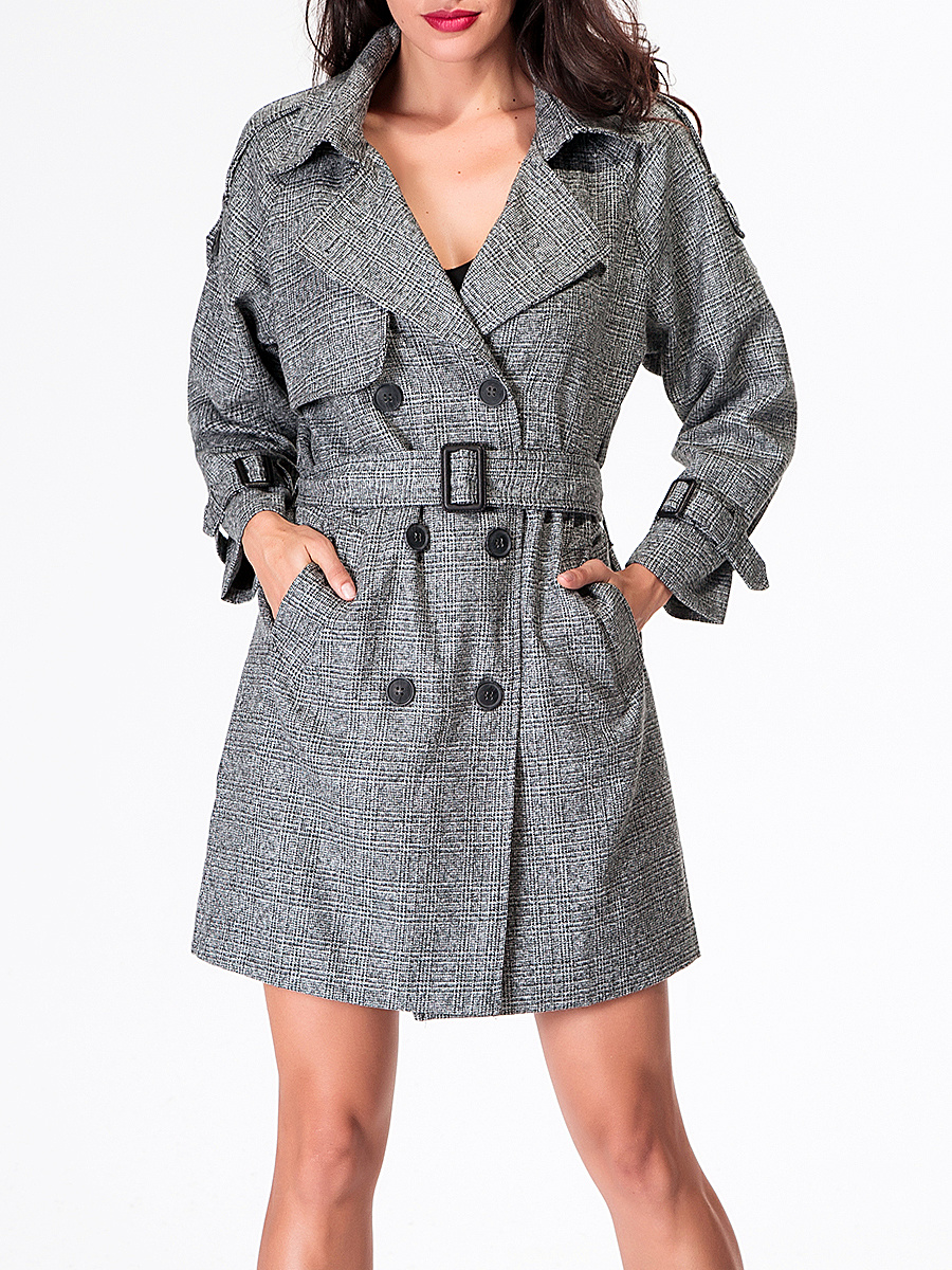 Double Breasted Lapel Trench-Coat