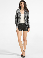 Lapel Dacron Houndstooth Patchwork Blazers