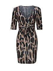 Sexy Deep V-Neck Leopard Bodycon Dress