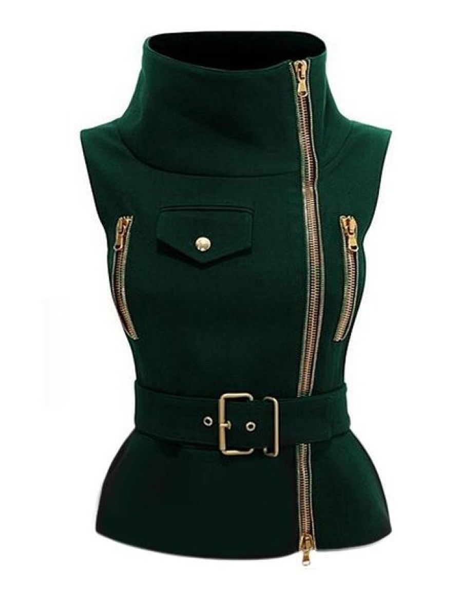 Army-Green & Black 2 Colors Plain Flap Pockets Zipper Sparkling Band Collar Jacket