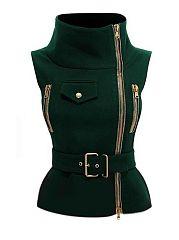 Army-Green-Black-2-Colors-Plain-Flap-Pockets-Zipper-Sparkling-Band-Collar-Jacket