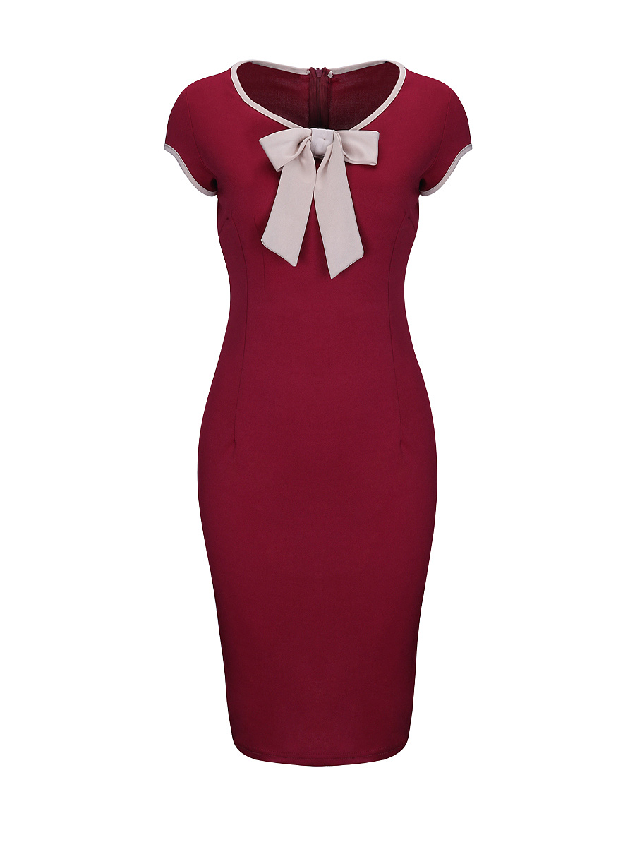 Elegant Contrast Bowknot Round Neck Bodycon Dress