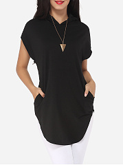 Spring-Summer-Women-Hooded-Patch-Pocket-Plain-Short-Sleeve-T-Shirts