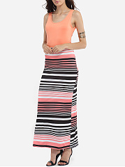 Scoop Neck Dacron Assorted Colors Hollow Out Maxi-dress