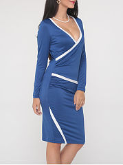 Color Block Excellent V Neck Bodycon Dress