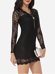 V Neck Lace Hollow Out Lace Plain Bodycon-dress