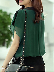 Autumn Spring Summer  Chiffon  Women  V-Neck  Beading  Plain  Batwing Sleeve  Short Sleeve Blouse
