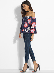Mandarin Sleeve Off Shoulder Dacron Floral Printed Blouse
