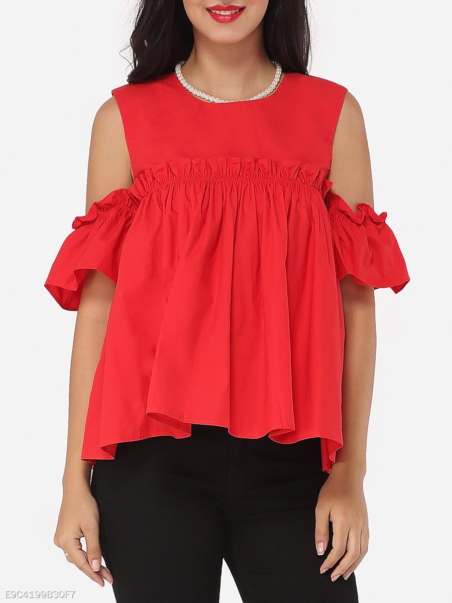 Plain Loose Fitting Captivating Round Neck Blouse