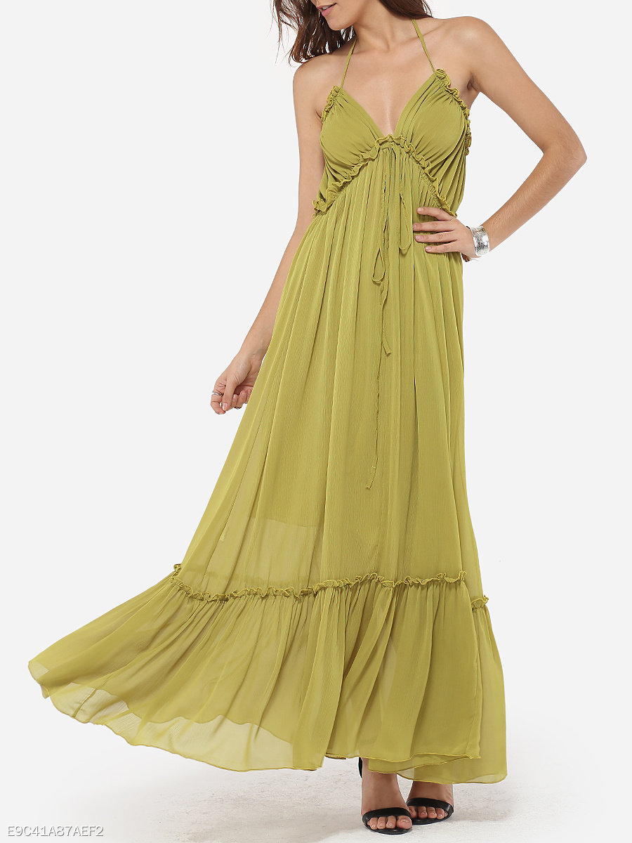 Falbala Halter Chiffon Plain Maxi Dress