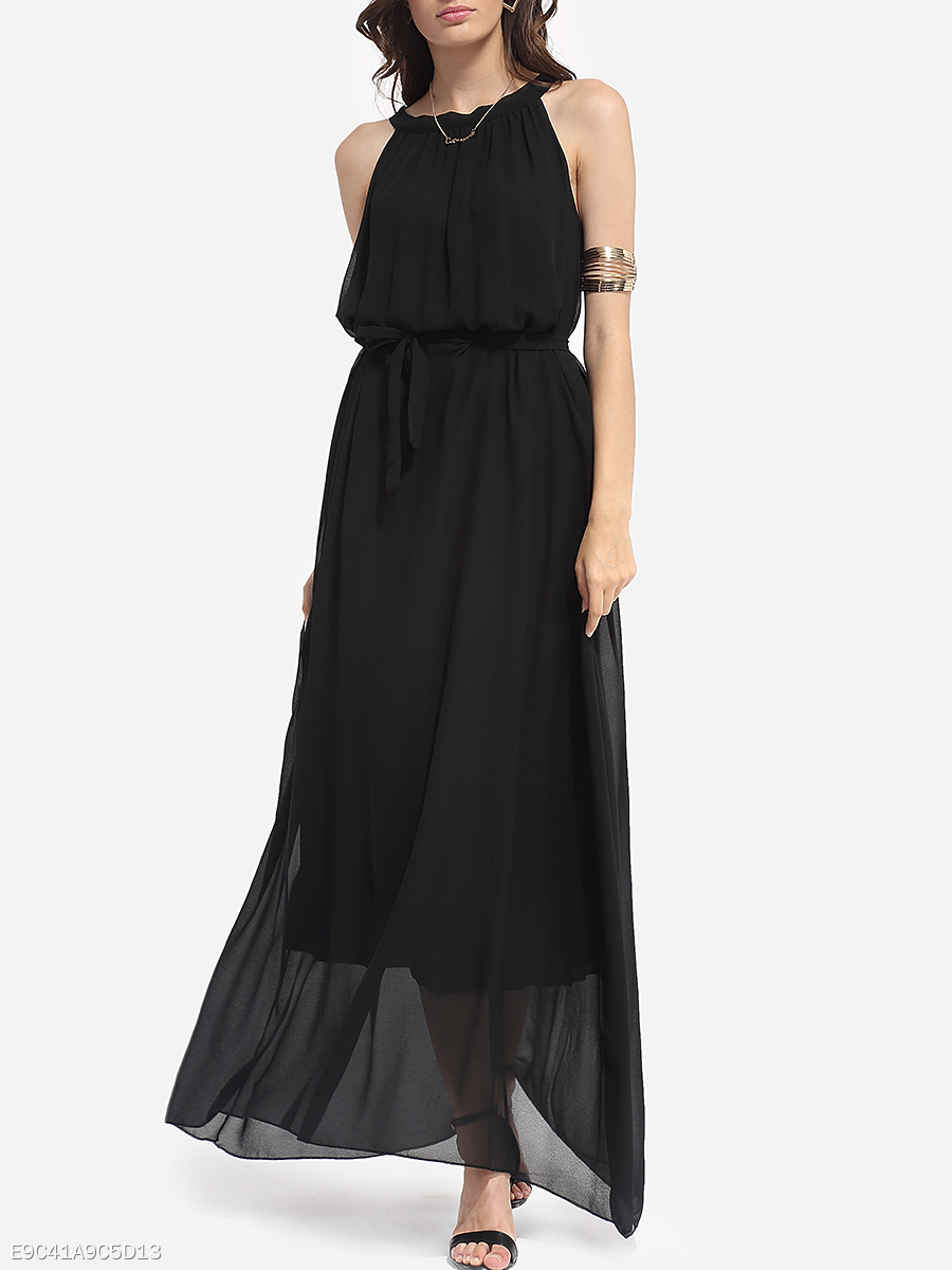 Bowknot Boat Neck Chiffon Plain Maxi Dress