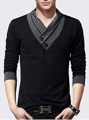 Men's Assorted Colors Decorative Buttons V Neck T-shirts