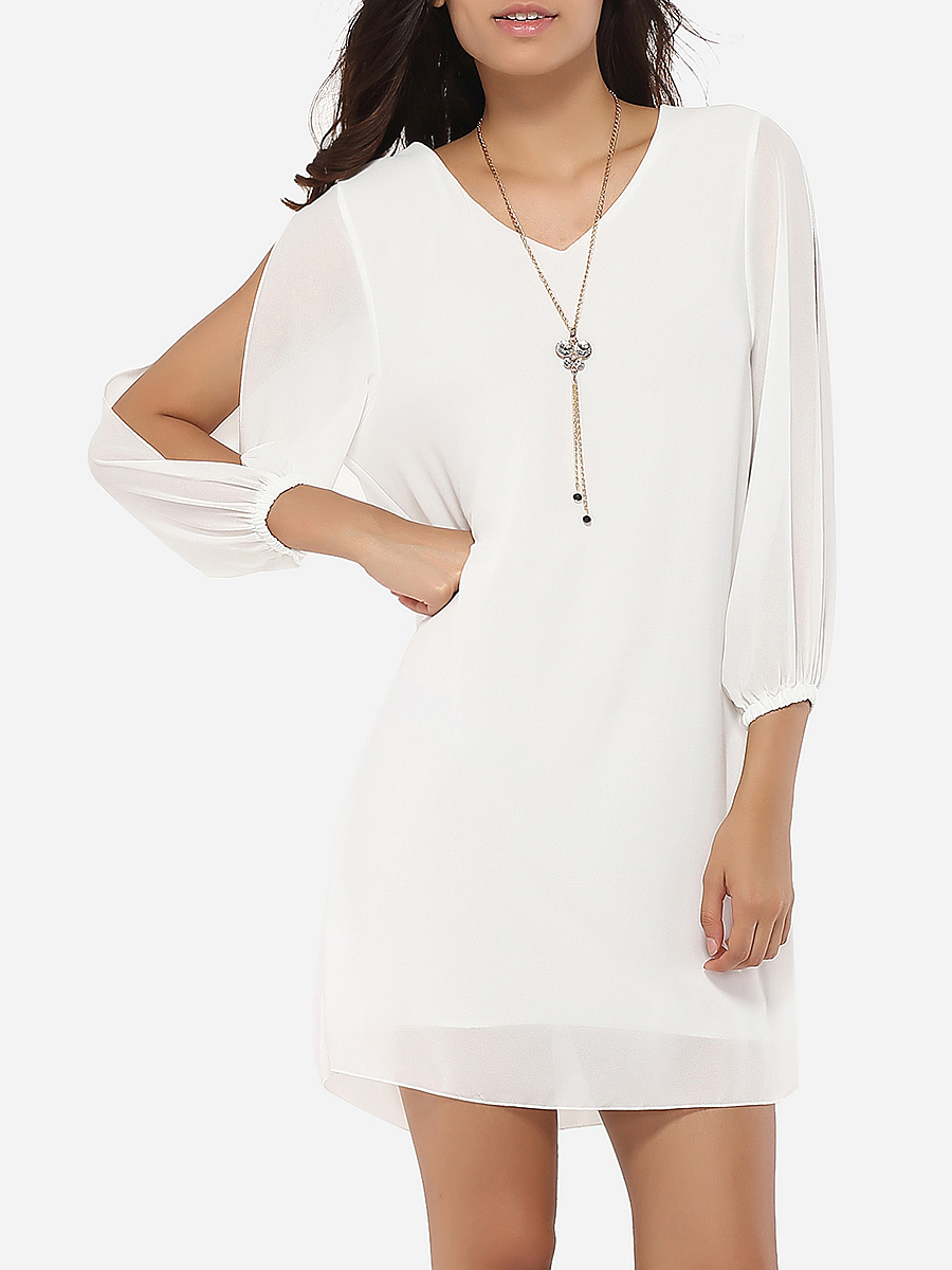 Loose Fitting V Neck Dacron Hollow Out Plain Shift-dress