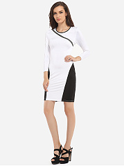 Zips Round Neck Dacron Color Block Hollow Out Bodycon Dress