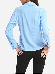 Plain Single Breasted Chic Polo Collar Blouse