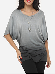 Spring Summer  Polyester  Women  Round Neck  Gradient  Batwing Sleeve Short Sleeve T-Shirts