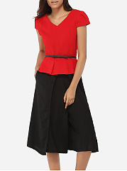 V Neck Dacron Top And Dacron Plain Pants