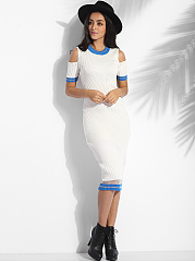 Crew Neck Knit Color Block Hollow Out Striped Bodycon-dress