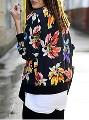 Floral Printed Zips Dramatic Band Collar Jackets