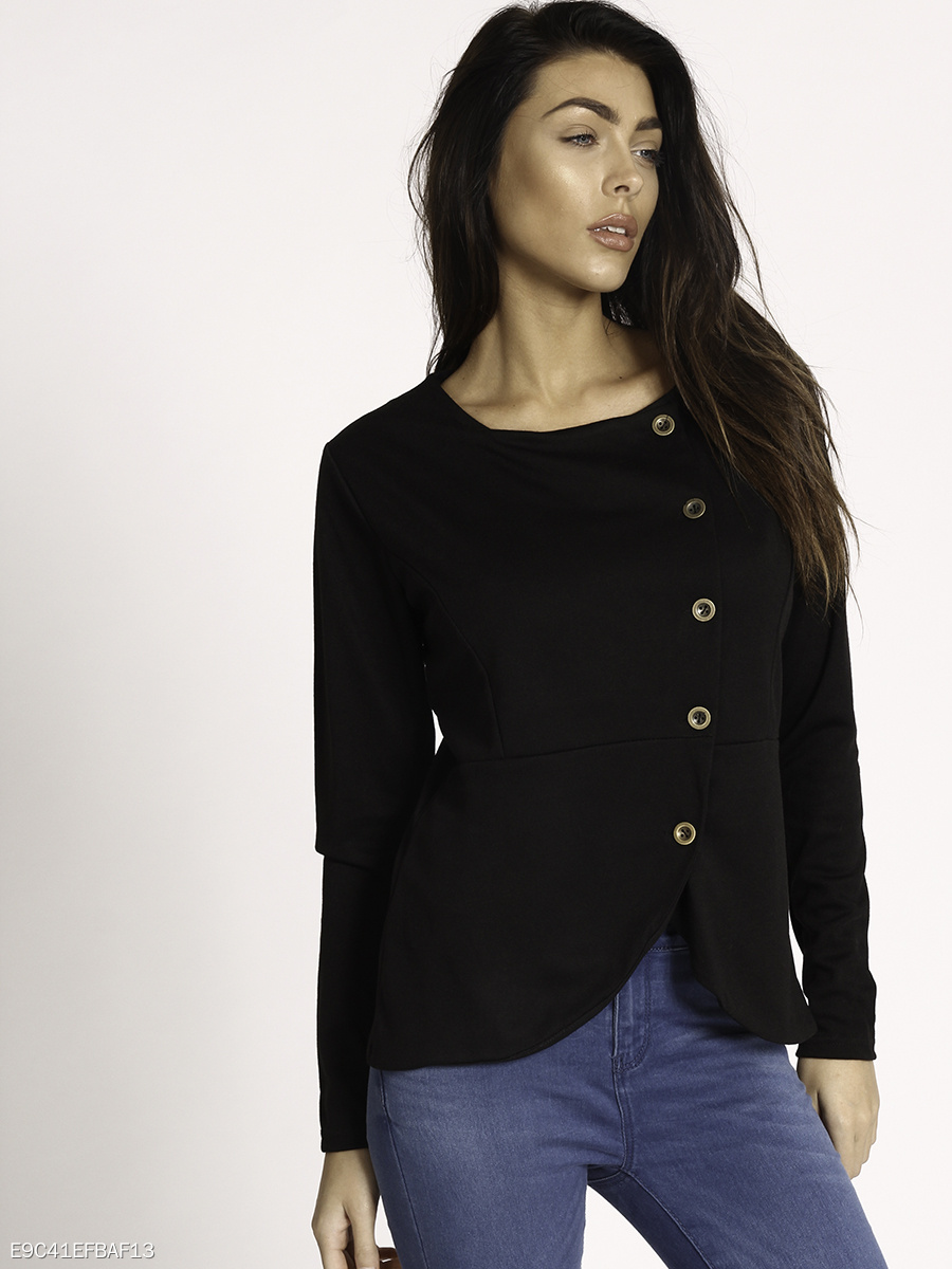 Round Neck Single Breasted Plain Jacket
