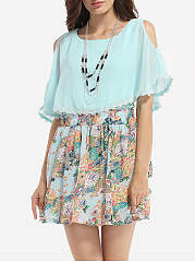 Round Neck Chiffon Top And Chiffon Floral Print Skirt