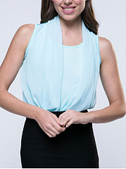 Spring Summer  Blend Chiffon  Women  Open Shoulder  Plain  Sleeveless Blouses