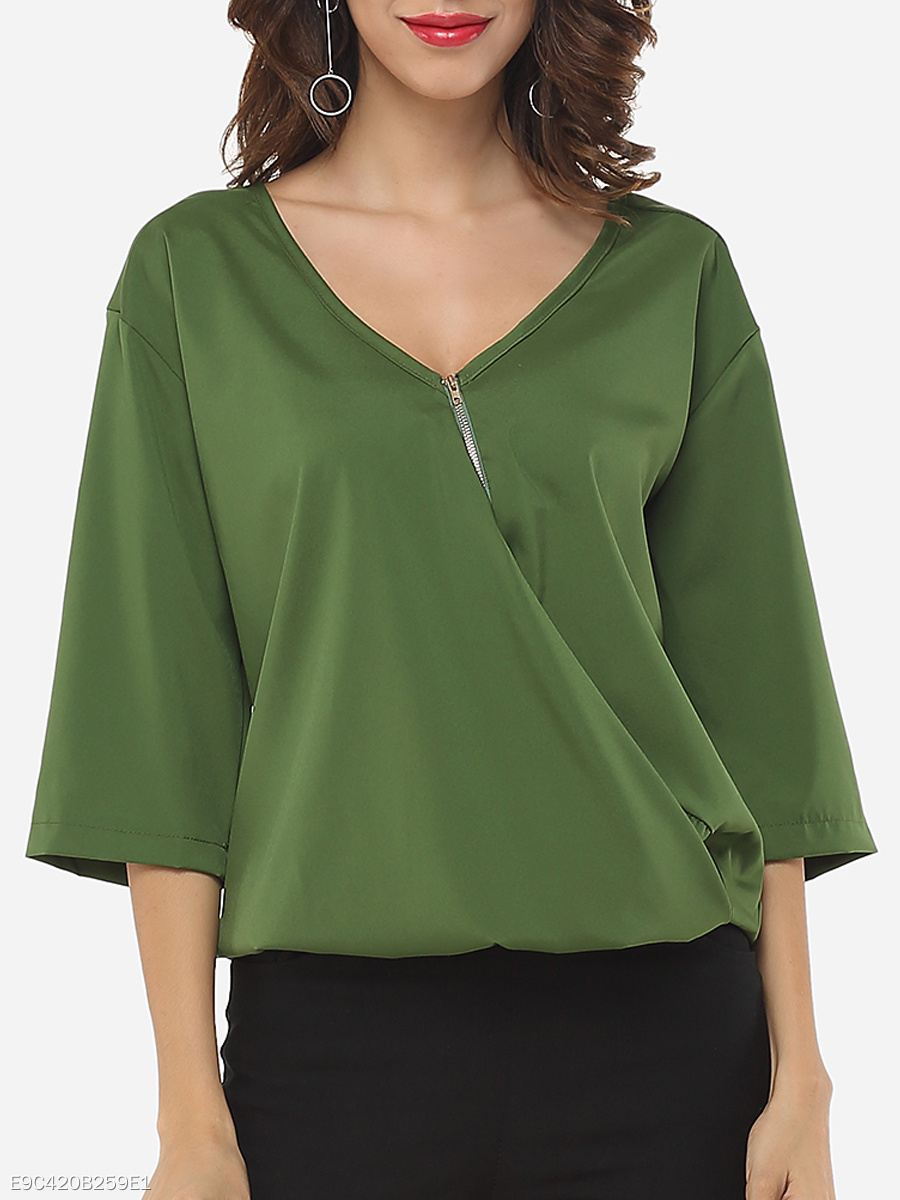 Plain Zips Exquisite V Neck Blouse