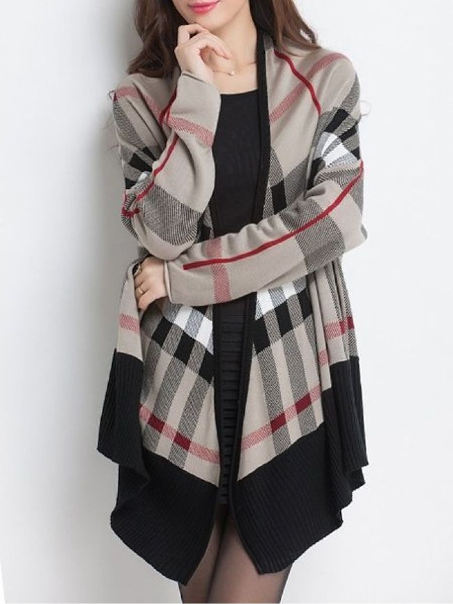 Color Block Plaid Fancy Collarless Cardigan