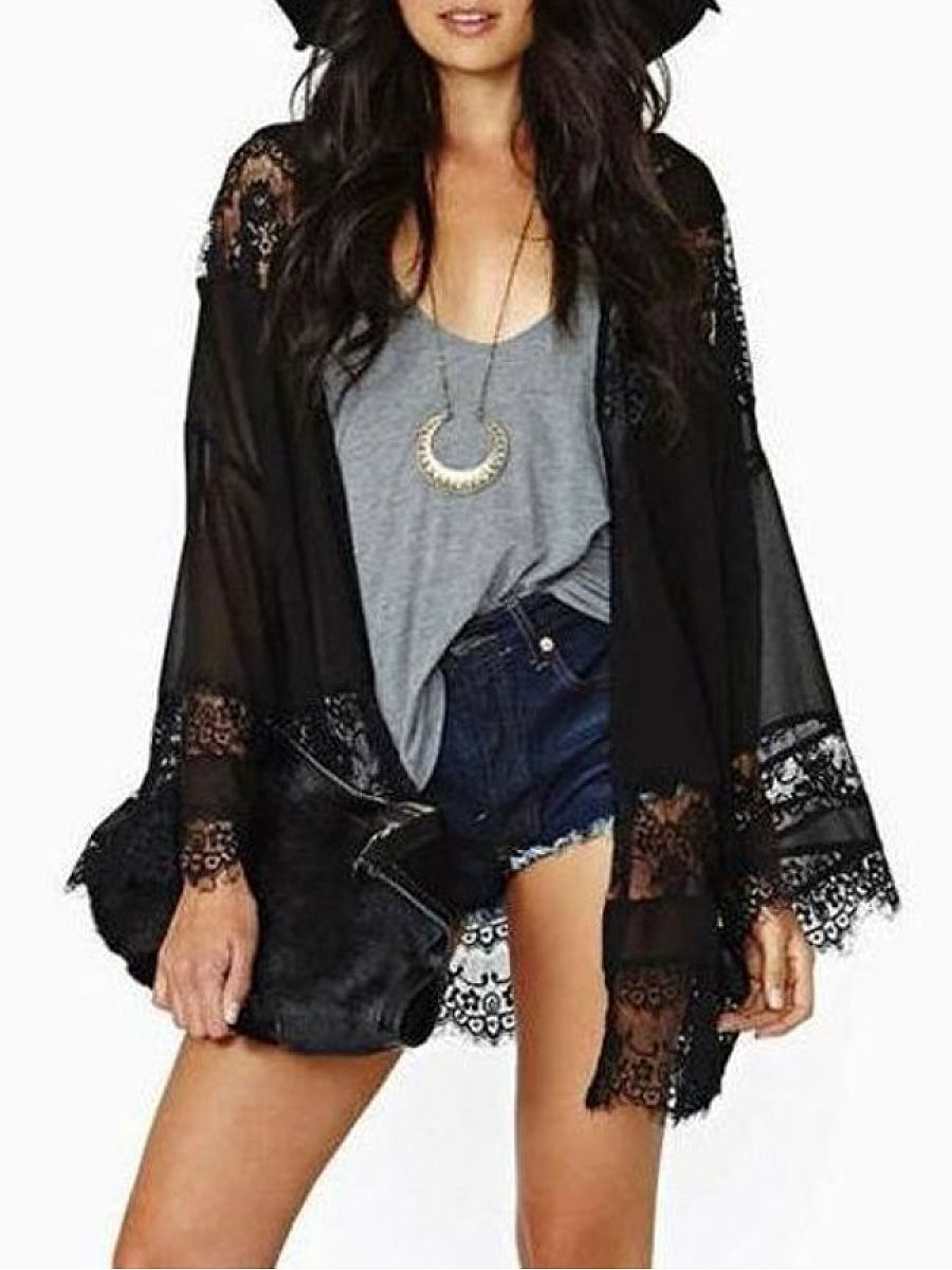 Lace Patchwork Stylish Collarless Cardigan